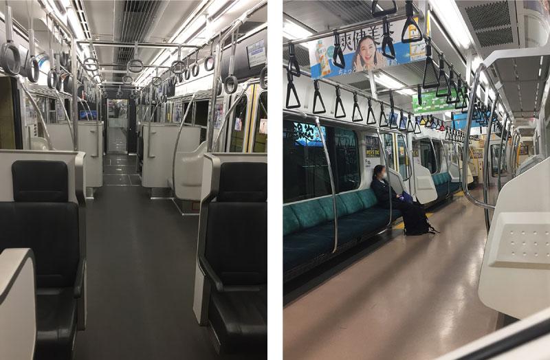 電車に乗って病院に行く。